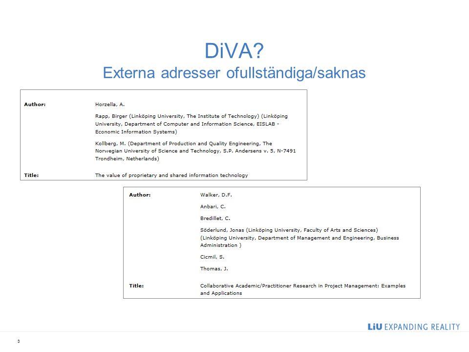 DiVA Externa adresser ofullständiga/saknas 3