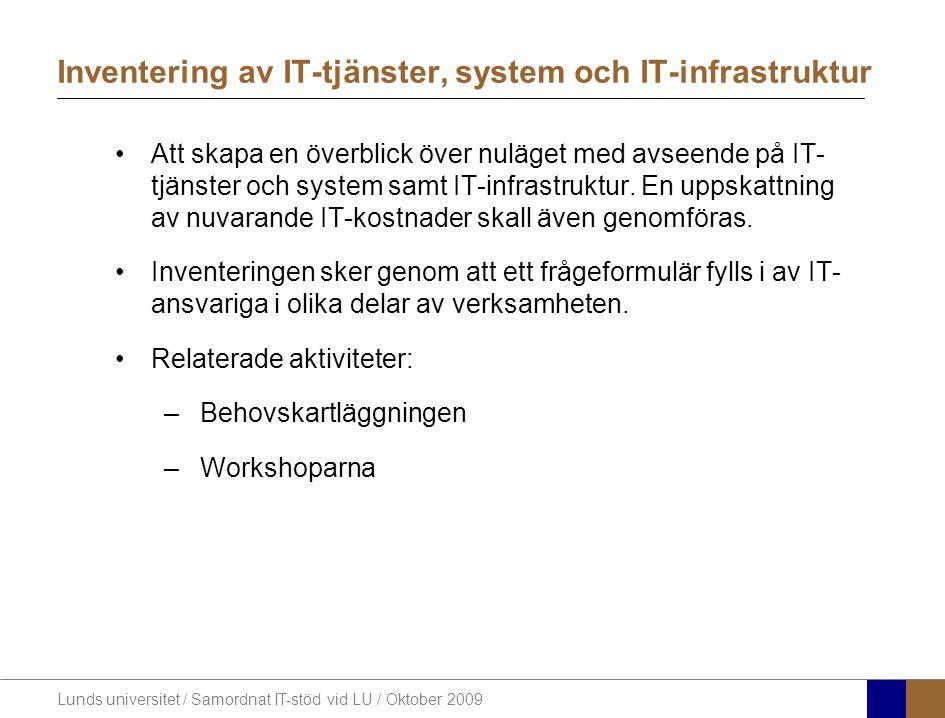 Lunds universitet / Samordnat IT-stöd vid LU / Oktober 2009 Inventering av IT-tjänster, system och IT-infrastruktur Att skapa en överblick över nuläget med avseende på IT- tjänster och system samt IT-infrastruktur.