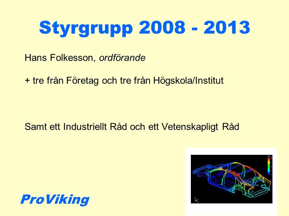 Styrgrupp 2008 - 2013 Hans Folkesson, ordförande + tre från Företag och tre från Högskola/Institut Samt ett Industriellt Råd och ett Vetenskapligt Råd ProViking