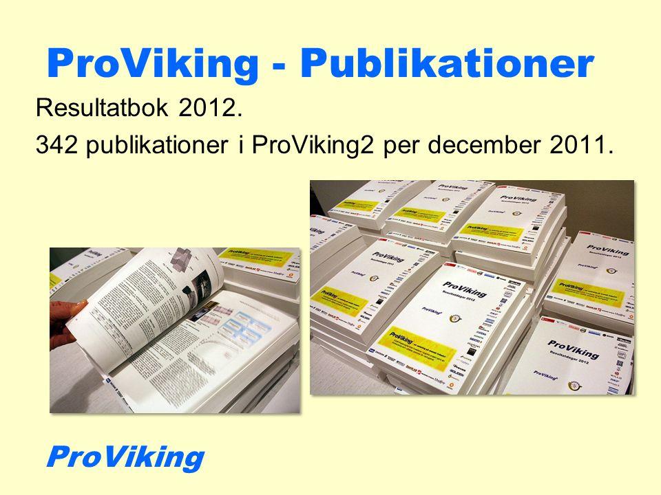 ProViking - Publikationer Resultatbok 2012. 342 publikationer i ProViking2 per december 2011.