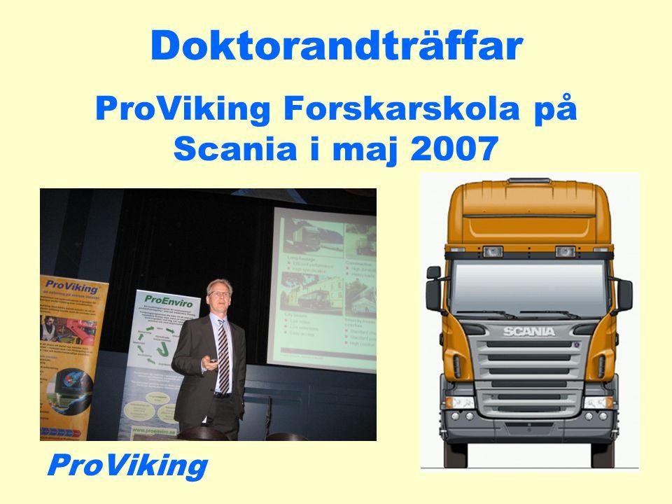 Doktorandträffar ProViking Forskarskola på Scania i maj 2007 ProViking