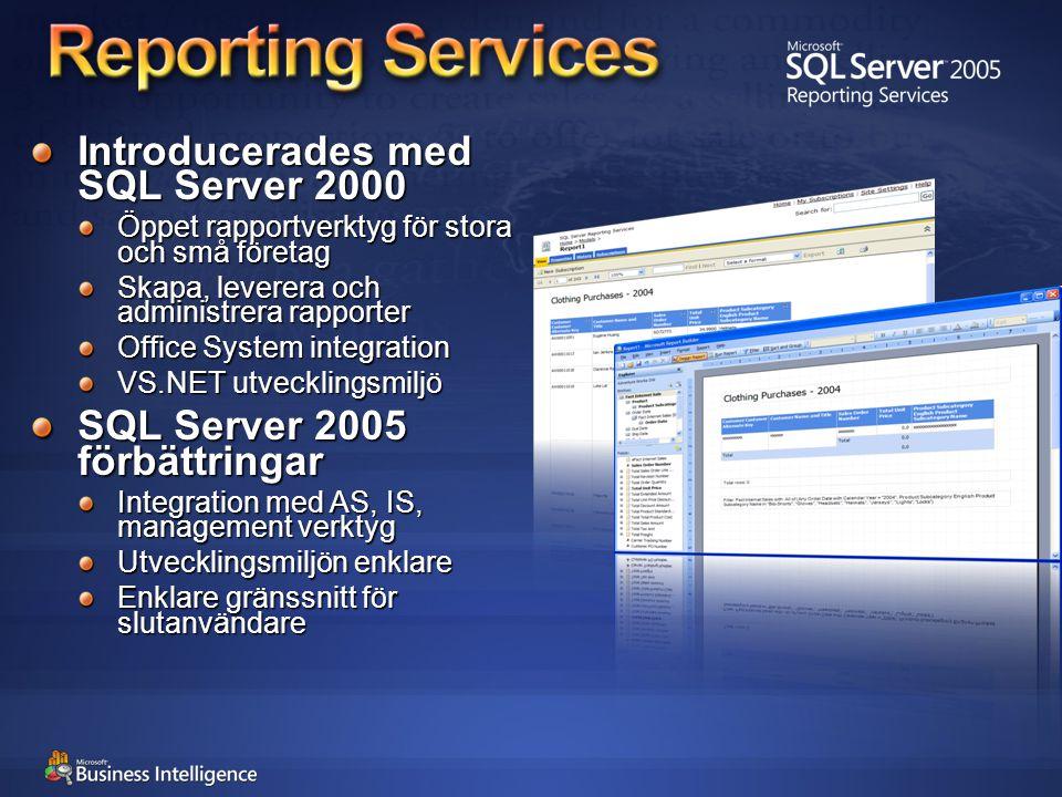 Introducerades med SQL Server 2000 Öppet rapportverktyg för stora och små företag Skapa, leverera och administrera rapporter Office System integration VS.NET utvecklingsmiljö SQL Server 2005 förbättringar Integration med AS, IS, management verktyg Utvecklingsmiljön enklare Enklare gränssnitt för slutanvändare
