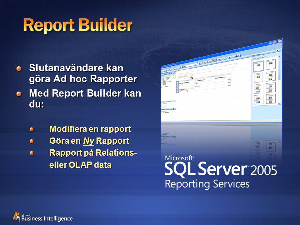 Slutanavändare kan göra Ad hoc Rapporter Med Report Builder kan du: Modifiera en rapport Göra en Ny Rapport Rapport på Relations- eller OLAP data