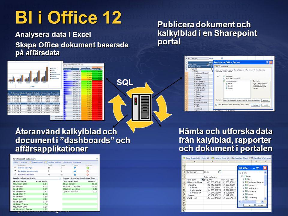 BI i Office 12 Analysera data i Excel Skapa Office dokument baserade på affärsdata Publicera dokument och kalkylblad i en Sharepoint portal Återanvänd kalkylblad och document i dashboards och affärsapplikationer Hämta och utforska data från kalylblad, rapporter och dokument i portalen SQL