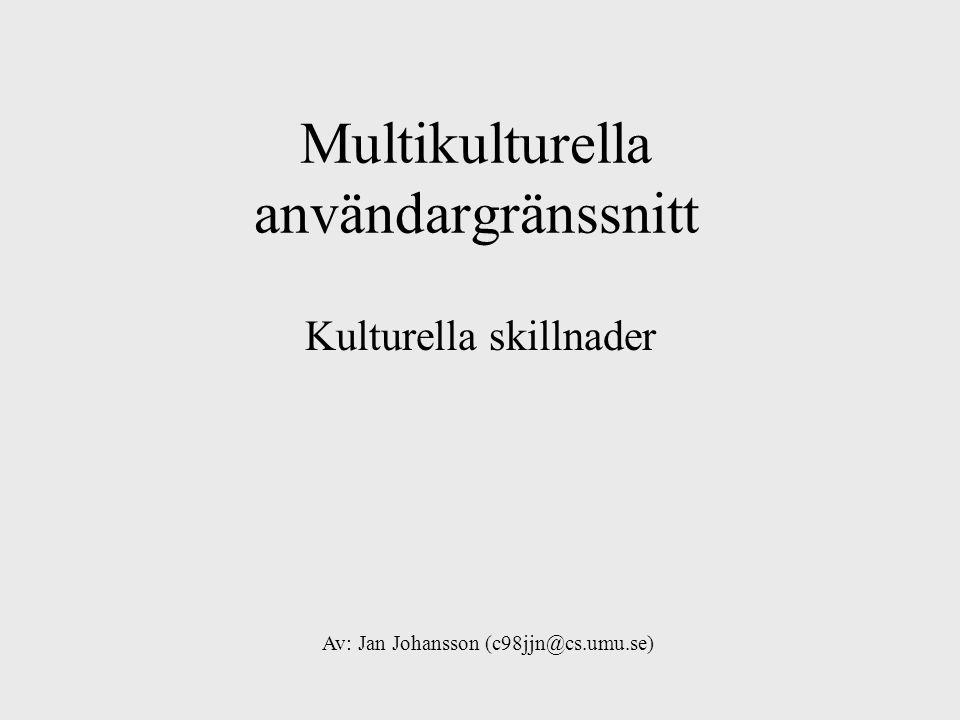 Multikulturella användargränssnitt Kulturella skillnader Av: Jan Johansson (c98jjn@cs.umu.se)