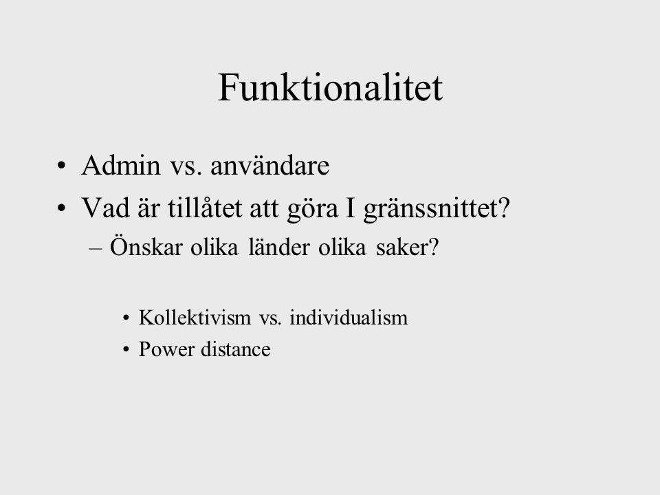 Funktionalitet Admin vs. användare Vad är tillåtet att göra I gränssnittet.