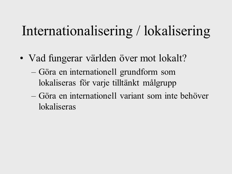 Internationalisering / lokalisering Vad fungerar världen över mot lokalt.