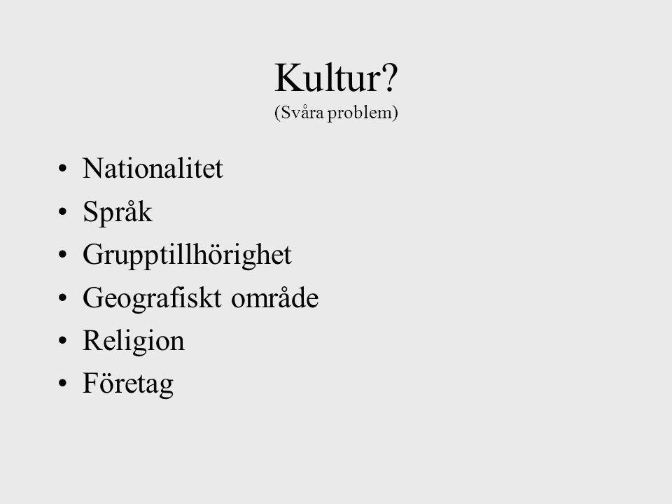 Kultur (Svåra problem) Nationalitet Språk Grupptillhörighet Geografiskt område Religion Företag