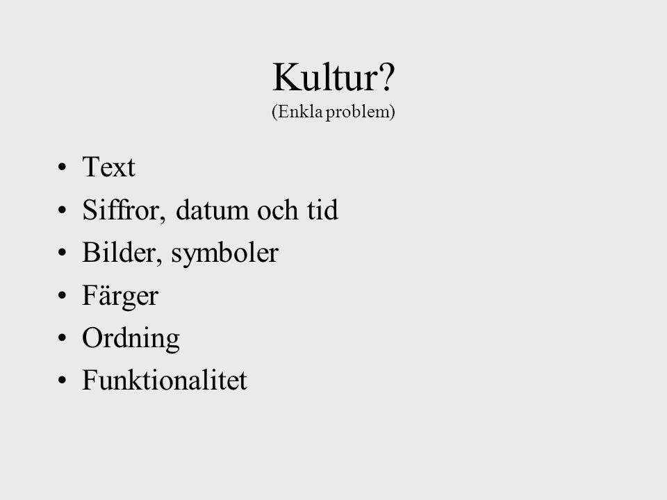 Kultur (Enkla problem) Text Siffror, datum och tid Bilder, symboler Färger Ordning Funktionalitet