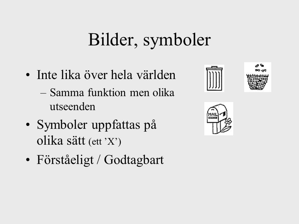 Bilder, symboler Inte lika över hela världen –Samma funktion men olika utseenden Symboler uppfattas på olika sätt (ett 'X') Förståeligt / Godtagbart