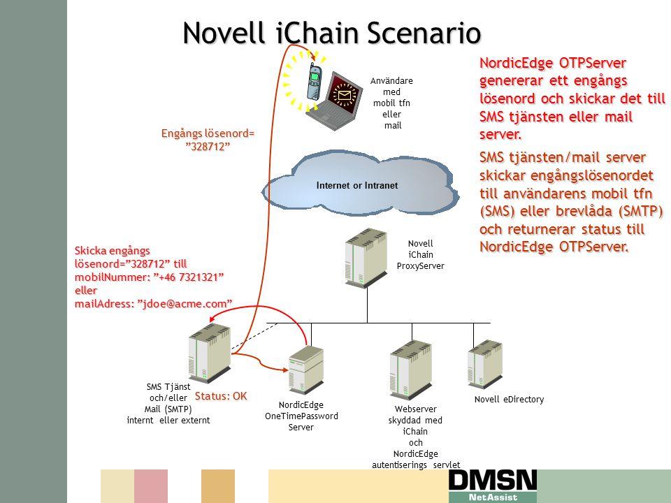 NordicEdge OneTimePassword Server Internet or Intranet Novell iChain ProxyServer Webserver skyddad med iChain och NordicEdge autentiserings servlet SMS Tjänst och/eller Mail (SMTP) internt eller externt Novell eDirectory Användare med mobil tfn eller mail Novell iChain Scenario Novell iChain Scenario NordicEdge OTPServer genererar ett engångs lösenord och skickar det till SMS tjänsten eller mail server.
