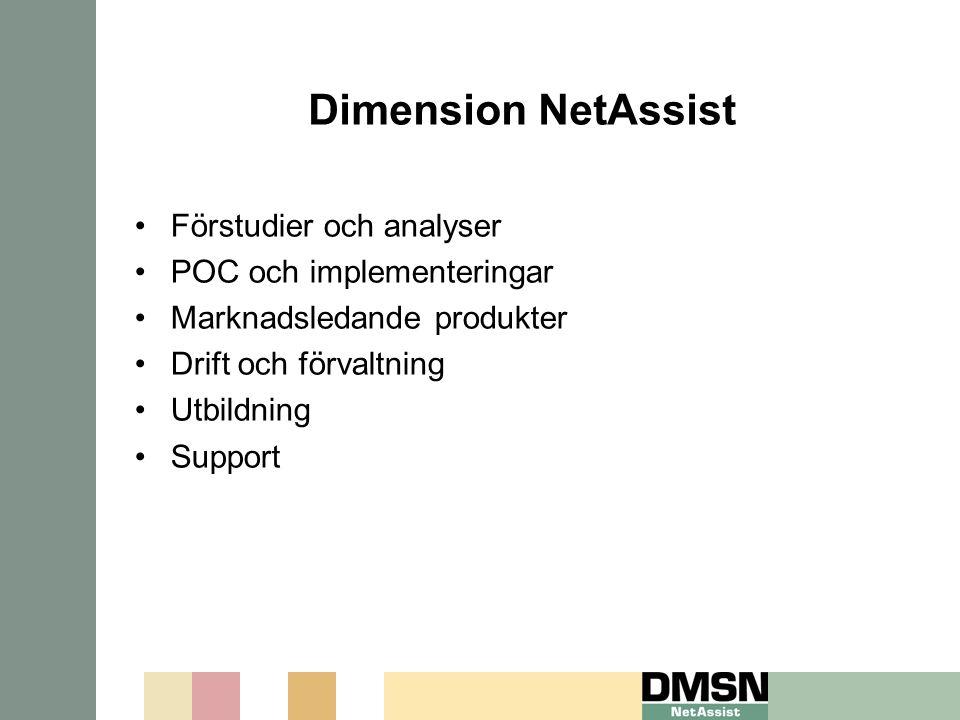 Dimension NetAssist Förstudier och analyser POC och implementeringar Marknadsledande produkter Drift och förvaltning Utbildning Support
