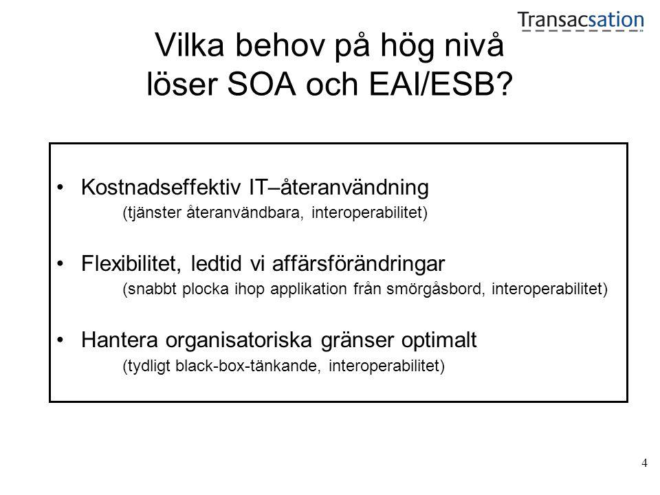 4 Vilka behov på hög nivå löser SOA och EAI/ESB.
