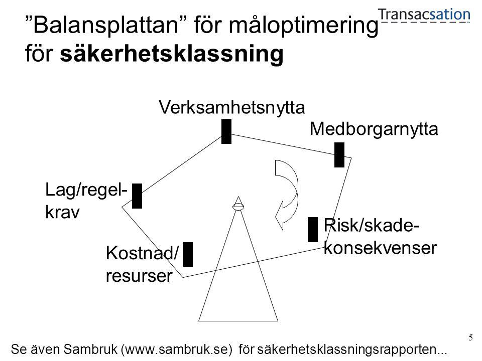 5 Balansplattan för måloptimering för säkerhetsklassning Medborgarnytta Risk/skade- konsekvenser Verksamhetsnytta Lag/regel- krav Kostnad/ resurser Se även Sambruk (www.sambruk.se) för säkerhetsklassningsrapporten...