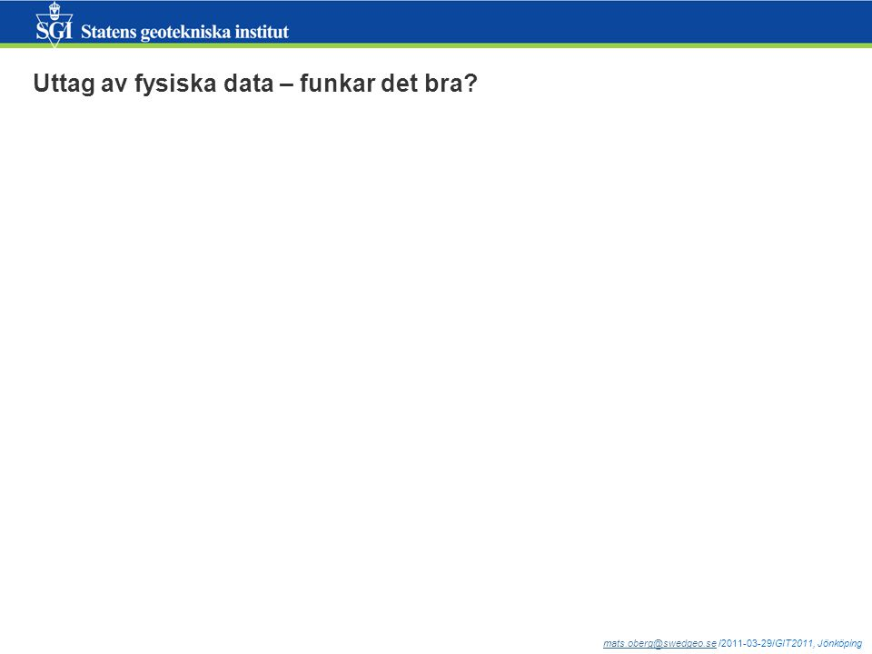 mats.oberg@swedgeo.semats.oberg@swedgeo.se /2011-03-29/GIT2011, Jönköping Uttag av fysiska data – funkar det bra