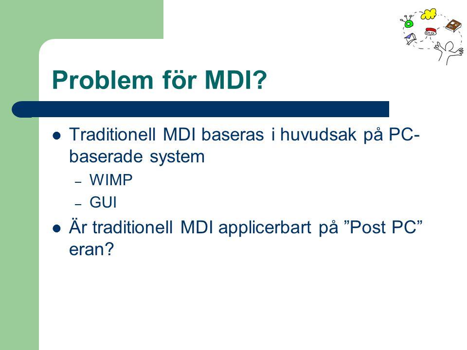 """Problem för MDI? Traditionell MDI baseras i huvudsak på PC- baserade system – WIMP – GUI Är traditionell MDI applicerbart på """"Post PC"""" eran?"""