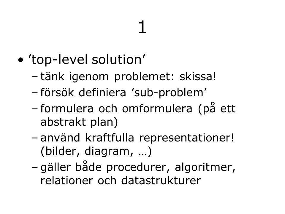 1 'top-level solution' –tänk igenom problemet: skissa.