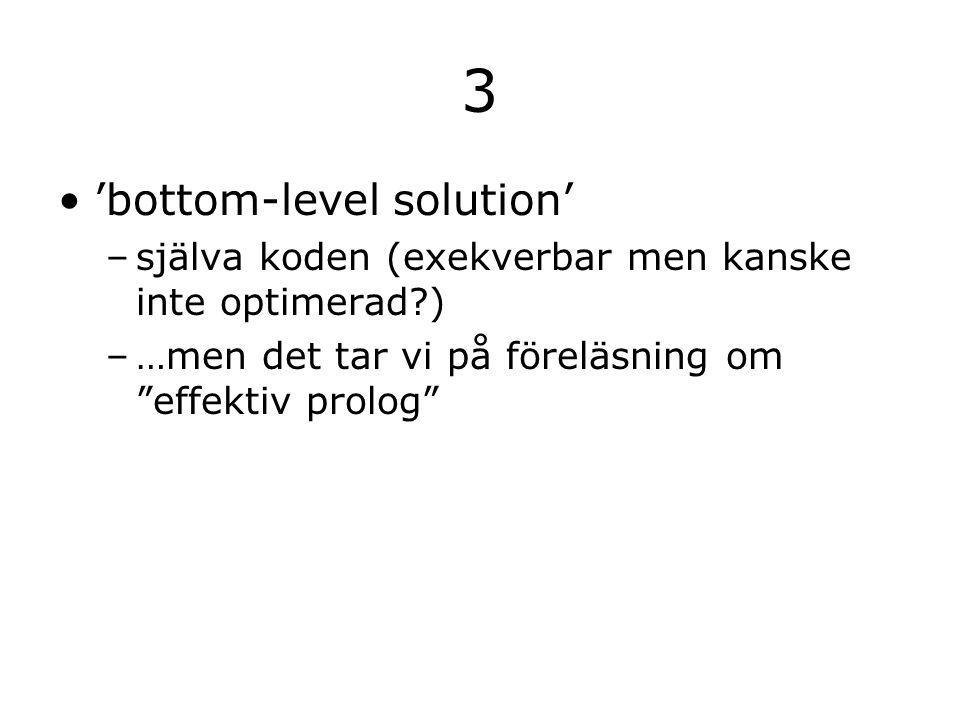 3 'bottom-level solution' –själva koden (exekverbar men kanske inte optimerad ) –…men det tar vi på föreläsning om effektiv prolog