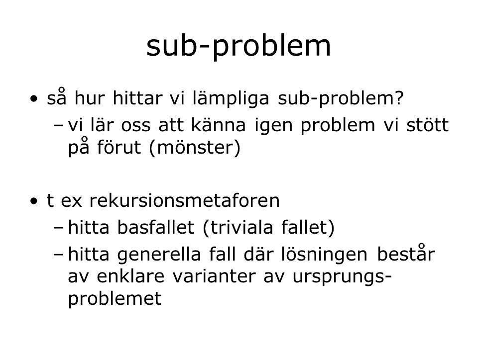 sub-problem så hur hittar vi lämpliga sub-problem.