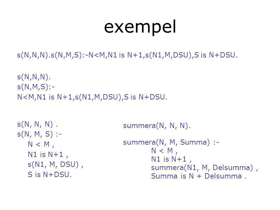 exempel s(N,N,N).s(N,M,S):-N<M,N1 is N+1,s(N1,M,DSU),S is N+DSU.