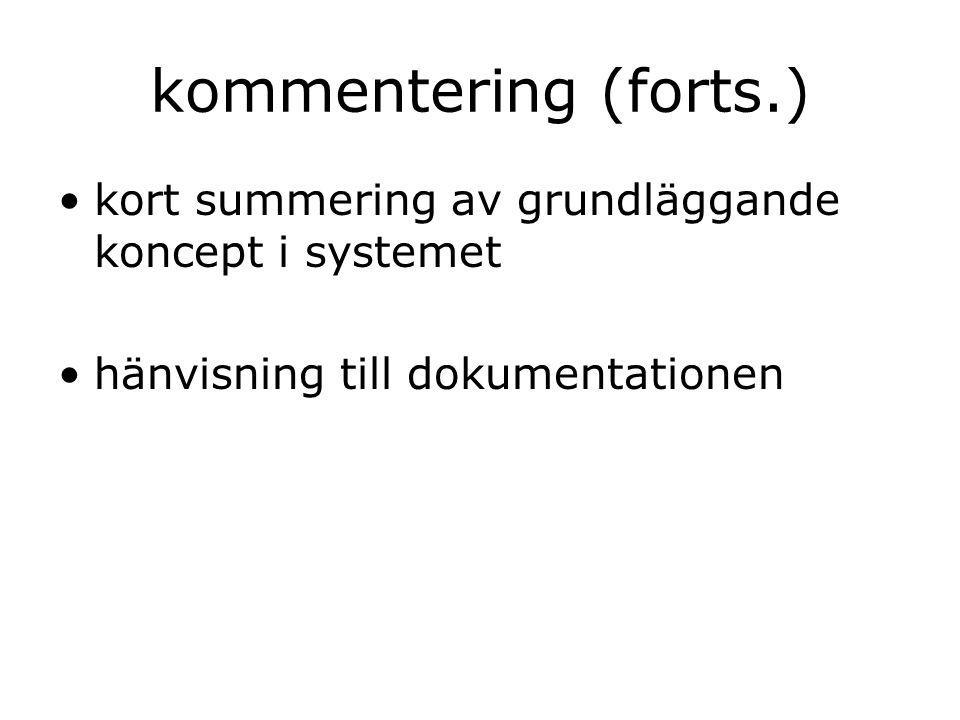kommentering (forts.) kort summering av grundläggande koncept i systemet hänvisning till dokumentationen