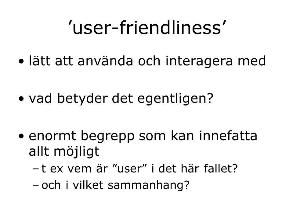 'user-friendliness' lätt att använda och interagera med vad betyder det egentligen.