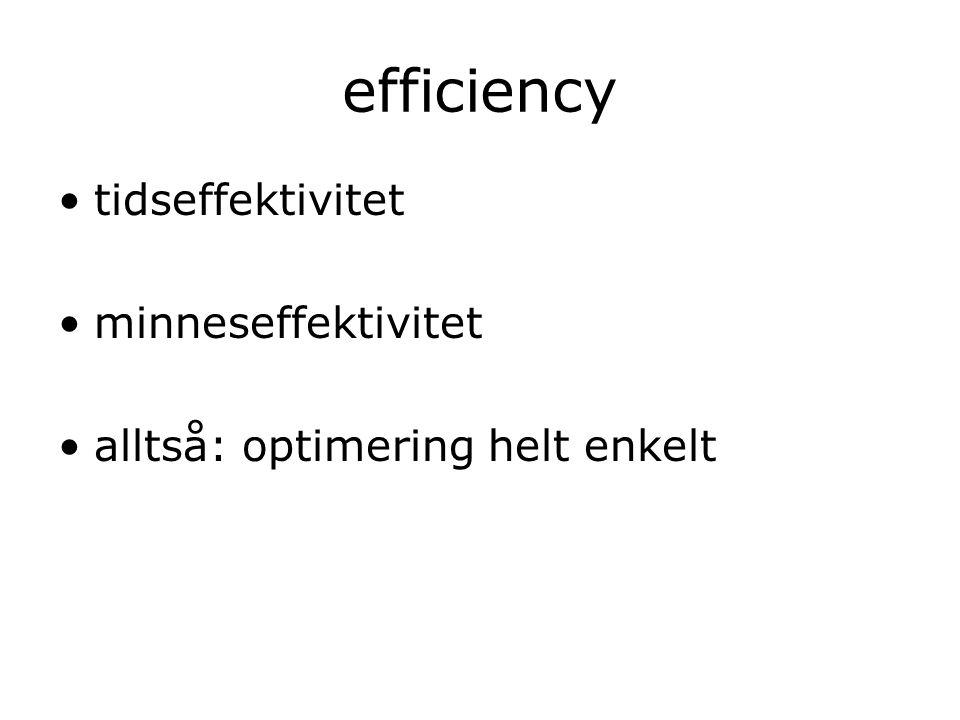 efficiency tidseffektivitet minneseffektivitet alltså: optimering helt enkelt