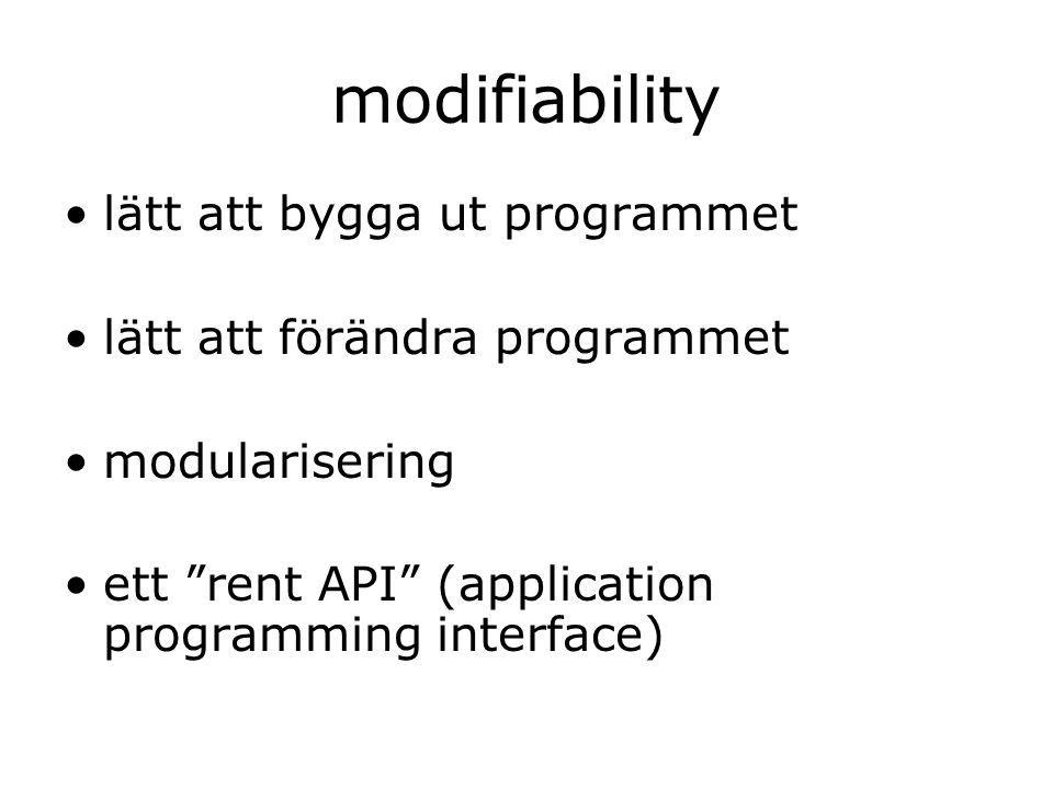 modifiability lätt att bygga ut programmet lätt att förändra programmet modularisering ett rent API (application programming interface)