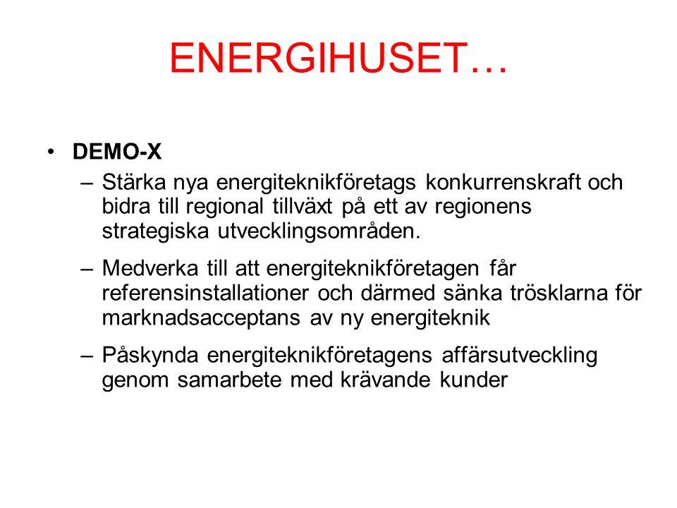ENERGIHUSET… DEMO-X –Stärka nya energiteknikföretags konkurrenskraft och bidra till regional tillväxt på ett av regionens strategiska utvecklingsområden.