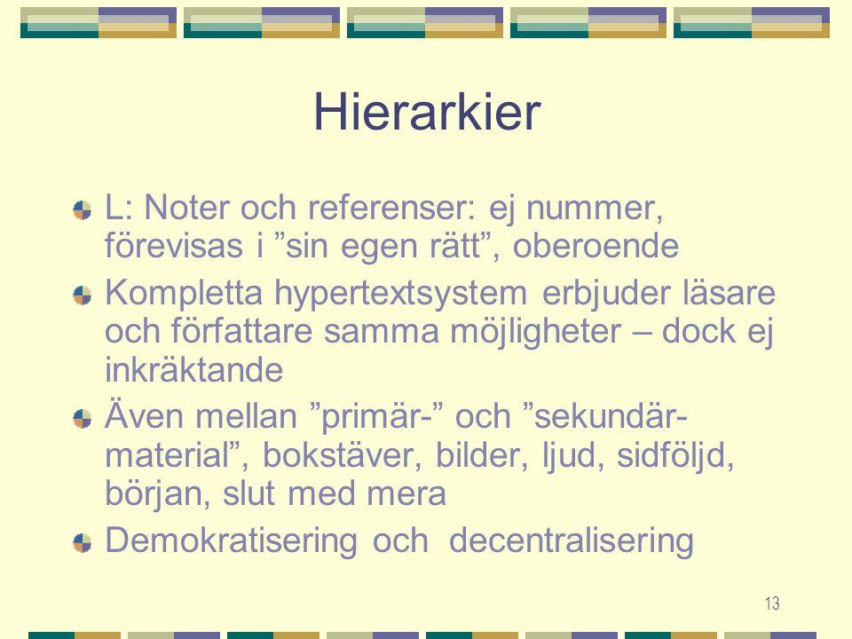 13 Hierarkier L: Noter och referenser: ej nummer, förevisas i sin egen rätt , oberoende Kompletta hypertextsystem erbjuder läsare och författare samma möjligheter – dock ej inkräktande Även mellan primär- och sekundär- material , bokstäver, bilder, ljud, sidföljd, början, slut med mera Demokratisering och decentralisering