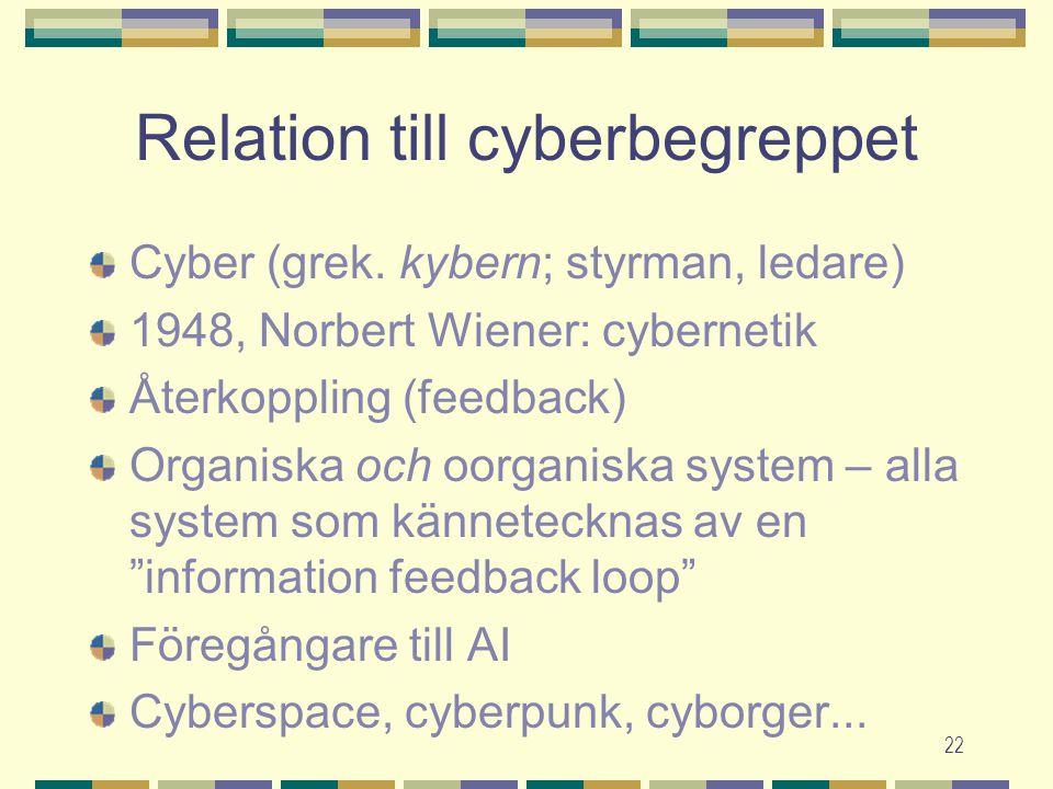 22 Relation till cyberbegreppet Cyber (grek. kybern; styrman, ledare) 1948, Norbert Wiener: cybernetik Återkoppling (feedback) Organiska och oorganisk