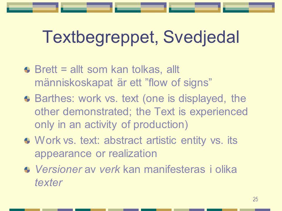 """25 Textbegreppet, Svedjedal Brett = allt som kan tolkas, allt människoskapat är ett """"flow of signs"""" Barthes: work vs. text (one is displayed, the othe"""