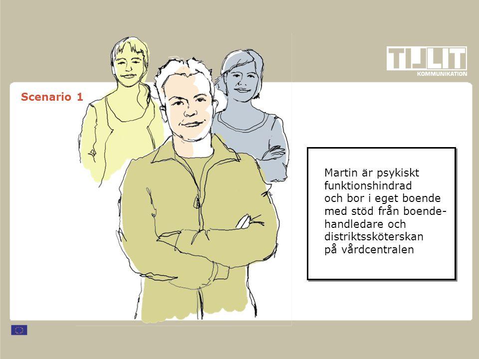 Scenario 1 Martin är psykiskt funktionshindrad och bor i eget boende med stöd från boende- handledare och distriktssköterskan på vårdcentralen