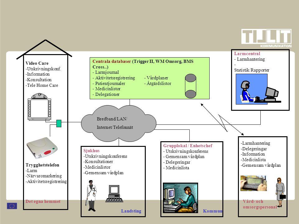 Bredband/LAN/ Internet/Telefonnät Centrala databaser (Trigger II, WM Omsorg, BMS Cross..) - Larmjournal - Aktivitetsregistrering- Vårdplaner - Patient