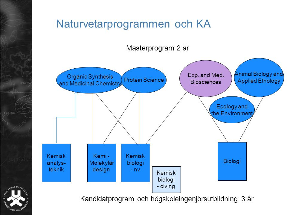 Naturvetarprogrammen och KA Organic Synthesis and Medicinal Chemistry Protein Science Exp.