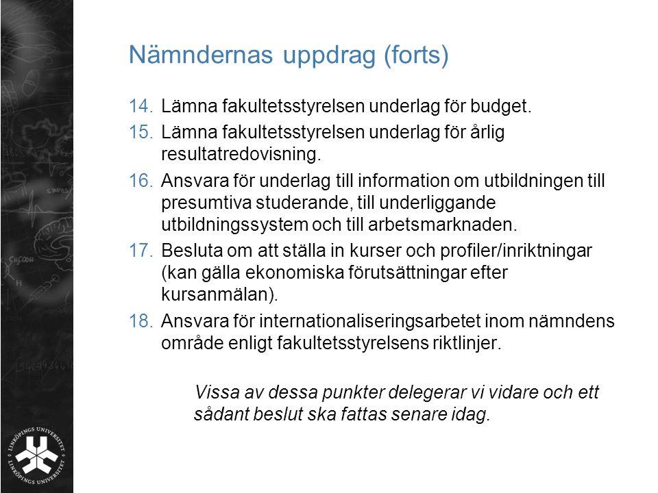 Nämndernas uppdrag (forts) 14.Lämna fakultetsstyrelsen underlag för budget.