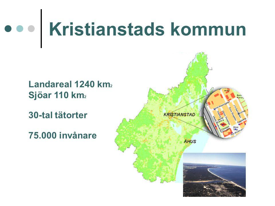 Kristianstads kommun Landareal 1240 km 2 Sjöar 110 km 2 30-tal tätorter 75.000 invånare