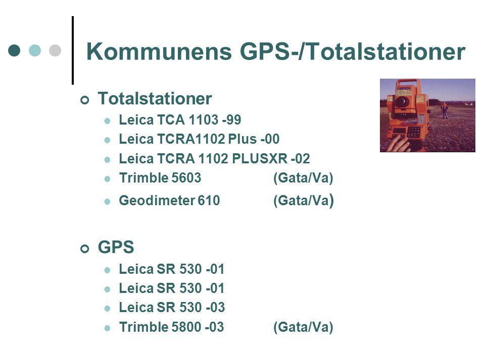 Kommunens GPS-/Totalstationer Totalstationer Leica TCA 1103 -99 Leica TCRA1102 Plus -00 Leica TCRA 1102 PLUSXR -02 Trimble 5603(Gata/Va) Geodimeter 610(Gata/Va ) GPS Leica SR 530 -01 Leica SR 530 -03 Trimble 5800 -03(Gata/Va)