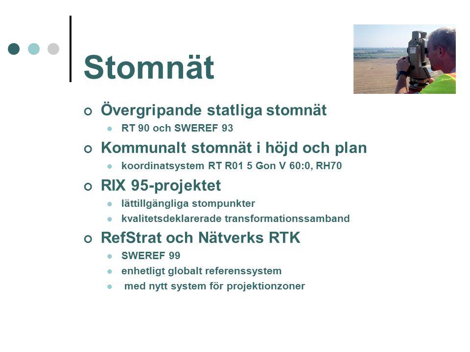 Stomnät Övergripande statliga stomnät RT 90 och SWEREF 93 Kommunalt stomnät i höjd och plan koordinatsystem RT R01 5 Gon V 60:0, RH70 RIX 95-projektet lättillgängliga stompunkter kvalitetsdeklarerade transformationssamband RefStrat och Nätverks RTK SWEREF 99 enhetligt globalt referenssystem med nytt system för projektionzoner
