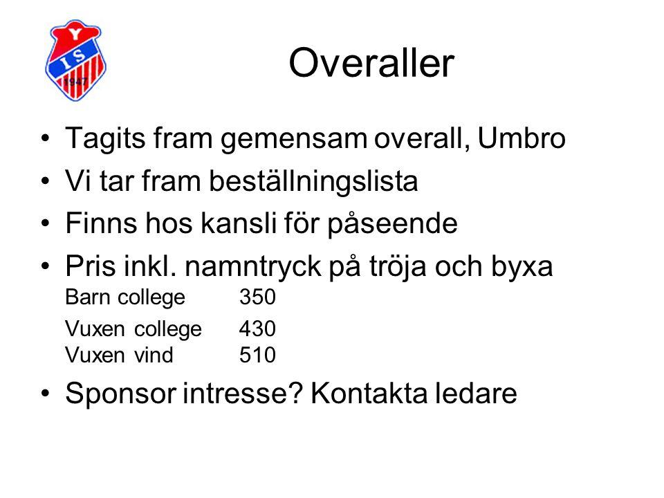 Overaller Tagits fram gemensam overall, Umbro Vi tar fram beställningslista Finns hos kansli för påseende Pris inkl.