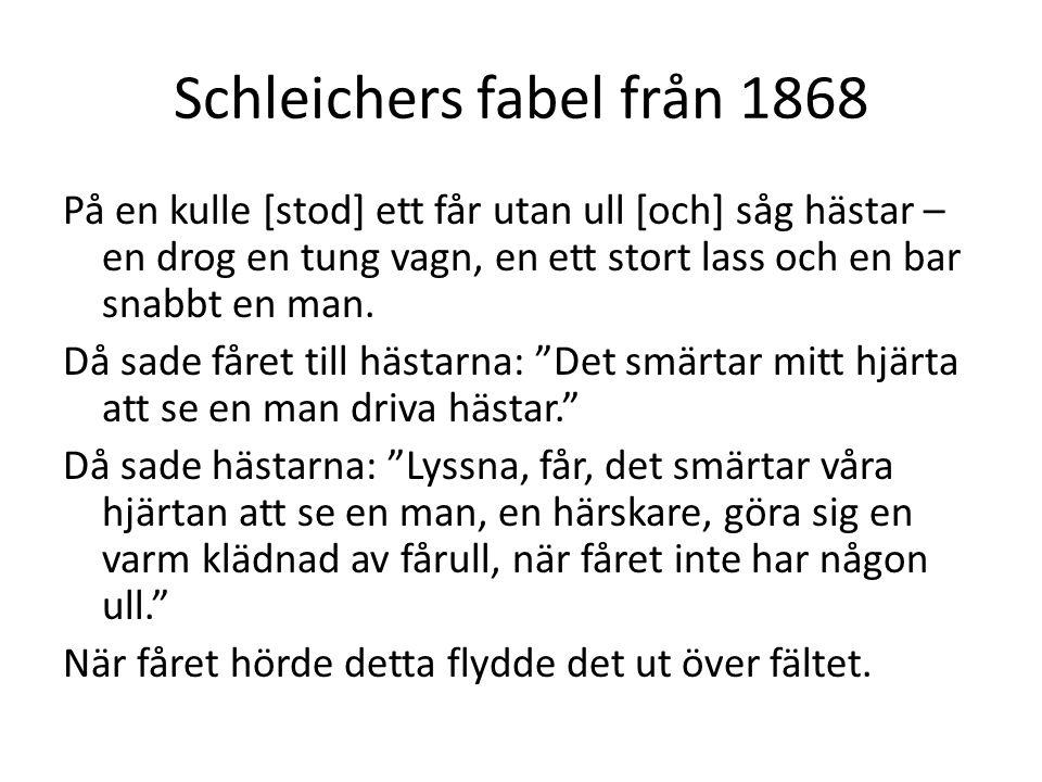 Schleichers fabel från 1868 På en kulle [stod] ett får utan ull [och] såg hästar – en drog en tung vagn, en ett stort lass och en bar snabbt en man. D