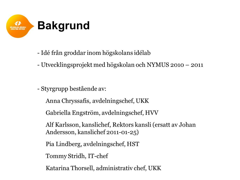 Bakgrund - Idé från groddar inom högskolans idélab - Utvecklingsprojekt med högskolan och NYMUS 2010 – 2011 - Styrgrupp bestående av: Anna Chryssafis,