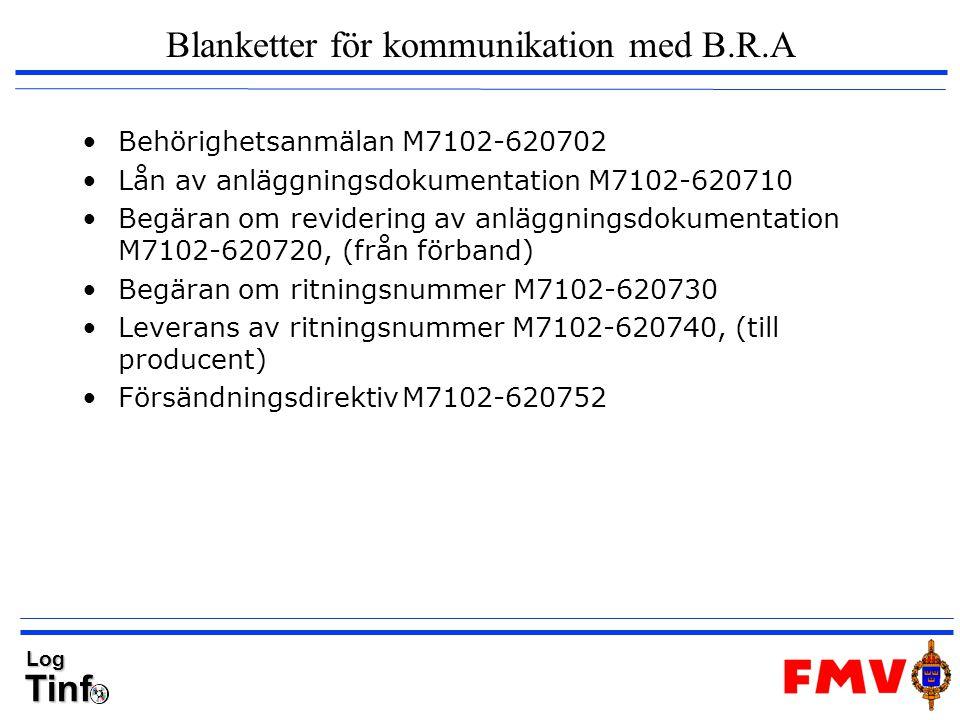 TinfLog Blanketter för kommunikation med B.R.A Behörighetsanmälan M7102-620702 Lån av anläggningsdokumentation M7102-620710 Begäran om revidering av a