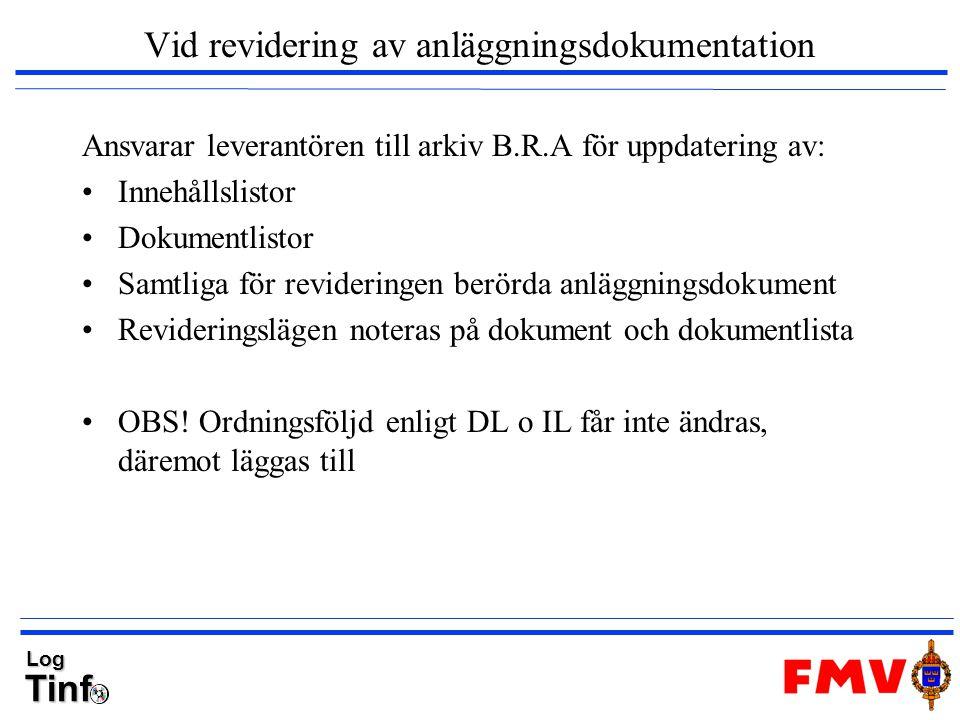 TinfLog Vid revidering av anläggningsdokumentation Ansvarar leverantören till arkiv B.R.A för uppdatering av: Innehållslistor Dokumentlistor Samtliga