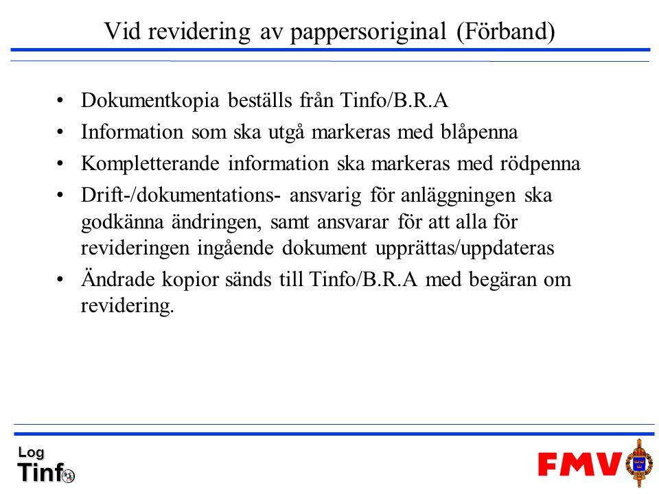 TinfLog Vid revidering av pappersoriginal (Förband) Dokumentkopia beställs från Tinfo/B.R.A Information som ska utgå markeras med blåpenna Komplettera