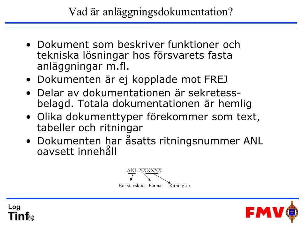 TinfLog Vad är anläggningsdokumentation? Dokument som beskriver funktioner och tekniska lösningar hos försvarets fasta anläggningar m.fl. Dokumenten ä