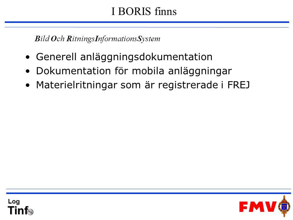 TinfLog I BORIS finns Generell anläggningsdokumentation Dokumentation för mobila anläggningar Materielritningar som är registrerade i FREJ Bild Och Ri