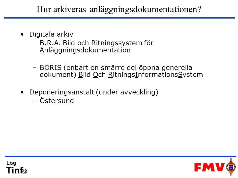 TinfLog Hur arkiveras anläggningsdokumentationen? Digitala arkiv –B.R.A. Bild och Ritningssystem för Anläggningsdokumentation –BORIS (enbart en smärre
