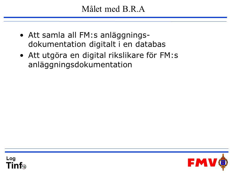 TinfLog Inleverans till B.R.A – framtid steg 1 B.R.A Txt-fil och ritfiler/ dokument importeras till B.R.A Skriv informationspaket till CD Paketera försändelse Skicka med bud Till FMV ILS Tinfo Läs in paket i applikation.