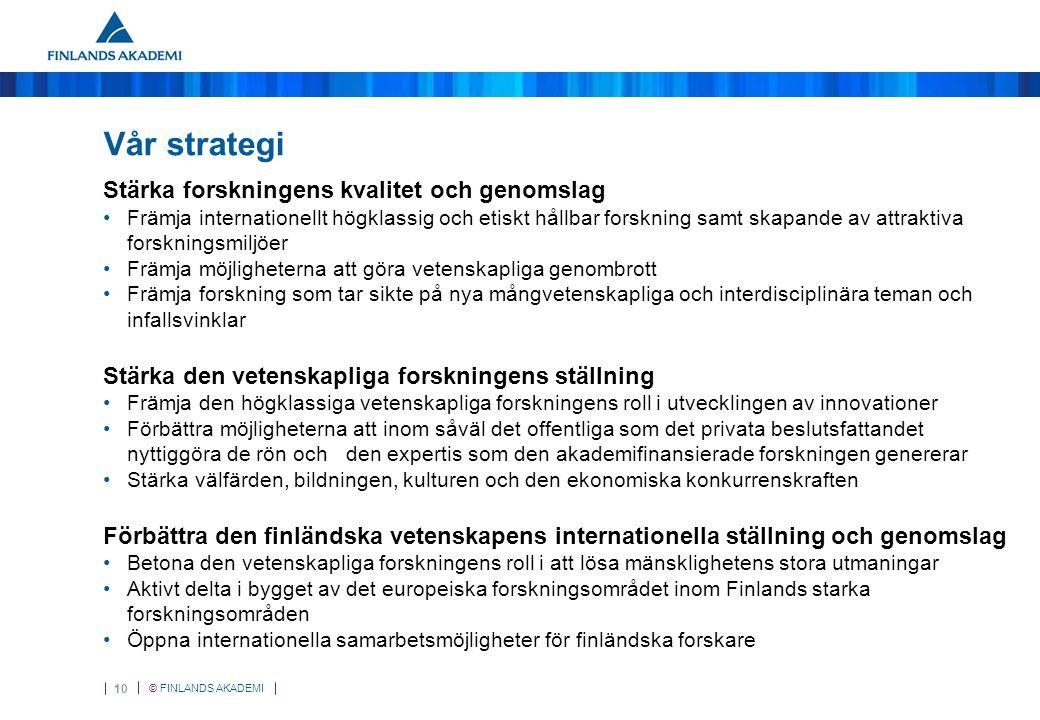 © FINLANDS AKADEMI 10 Vår strategi Stärka forskningens kvalitet och genomslag Främja internationellt högklassig och etiskt hållbar forskning samt skapande av attraktiva forskningsmiljöer Främja möjligheterna att göra vetenskapliga genombrott Främja forskning som tar sikte på nya mångvetenskapliga och interdisciplinära teman och infallsvinklar Stärka den vetenskapliga forskningens ställning Främja den högklassiga vetenskapliga forskningens roll i utvecklingen av innovationer Förbättra möjligheterna att inom såväl det offentliga som det privata beslutsfattandet nyttiggöra de rön och den expertis som den akademifinansierade forskningen genererar Stärka välfärden, bildningen, kulturen och den ekonomiska konkurrenskraften Förbättra den finländska vetenskapens internationella ställning och genomslag Betona den vetenskapliga forskningens roll i att lösa mänsklighetens stora utmaningar Aktivt delta i bygget av det europeiska forskningsområdet inom Finlands starka forskningsområden Öppna internationella samarbetsmöjligheter för finländska forskare